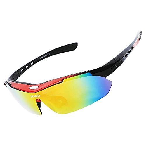 Aeici Sportbrille PC Sportbrille Herren Wechselgläser Sportbrille Brillenträger Rot