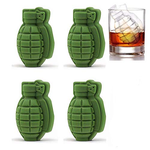 JZK 4 x Silicona Molde de Hielo 3D Forma de Granada Molde de Cubitos de Hielo Cake Mold para Whisky Cocktails Jugo de Fruta de café y refresco