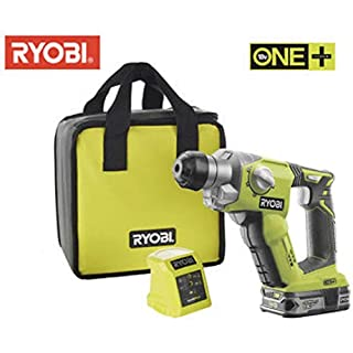 RYOBI 18V SDS + HAMMER DRILL COMPLETE KIT WITH LITHIUM BATTERY & 45 MINUTE CHARGER IN RYOBI TOOL BAG (1+ SYSTEM)