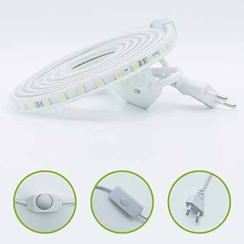 HAGEMANN® LED Strip 1-50m warmweiß - LED Streifen 1m Warmweiss (3000 K) mit Stecker - 230V LED Lichtleiste - Led Leiste Schnur Lichtstreifen Lichtband