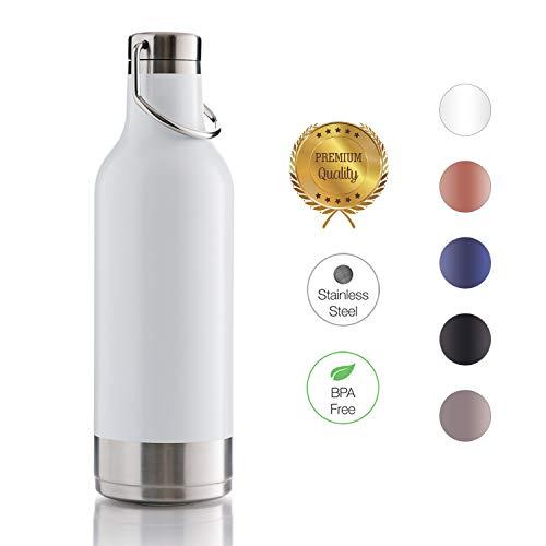 BOHORIA® Premium Isolierte Edelstahl Trink-Flasche - Thermo-Flasche - Wasserflasche - Doppelwandig & Vakuumisoliert - Flasche für Arbeit, Schule, Universität, Sport, Reisen (Handle White)