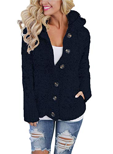 Happy Sailed Damen Langarm Strickjacke Cardigan Strickcardigan Hoodie Jacke mit Kapuze XS-XXL (Reißverschluss Strickjacke Damen)