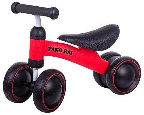 MularStein Laufrad für Kinder 1-3 Jahre in Rot Scooter Sattelhöhe 25 cm Baby-Bike auf Vier Rädern für Mehr Gleichgewicht (Rot)