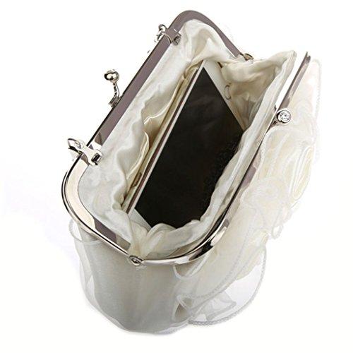 Belsen, Borsa a spalla donna argento Silver Taglia unica White