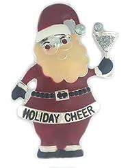 * Reino Unido * embriaguez de Navidad Papá Noel/Padre Navidad broche Pin Holiday Cheer rojo bebida bisutería plateado secreto Santa