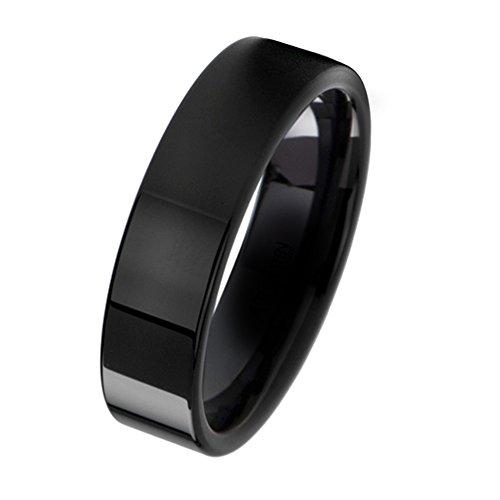 Gemini Damen-Ring Titan , Herren-Ring Titan , Freundschaftsringe , Hochzeitsringe , Eheringe, Schwarz, Breite 6mm Größe 58 (18.5) (Herren Titan Ringe 6 Mm)