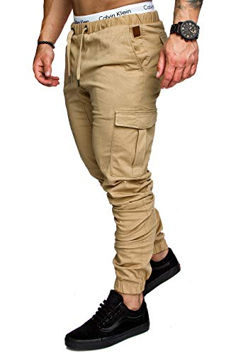 Amaci&Sons Jogger Cargo Herren Chino Jeans Hose 7001 Beige W34