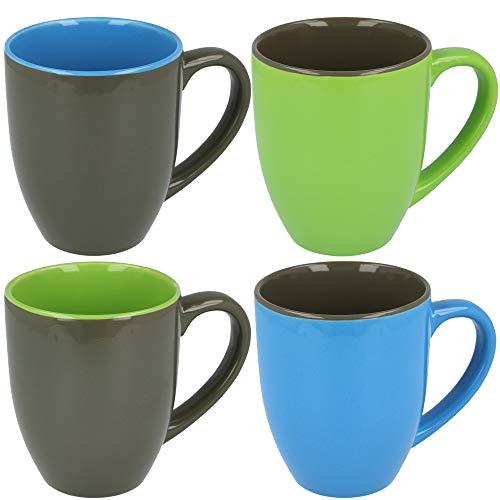 COM-FOUR® 4x Kaffeebecher in verschiedene Farben, 300 ml, Porzellan, Kaffeetasse, Kaffeepott (04 Stück - blau/grau/grün)