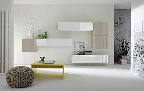 Sodani parete attrezzata mobili salotto con 6 mobili sospesi 335x31x15cm boost bianco e beige