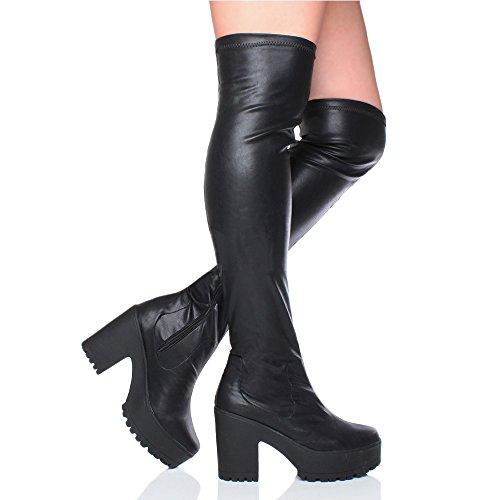 Damen Hochblockabsatz Elastisch Schenkel Plateau Reißverschluss Trend Mode Overkneestiefel Größe Schwarz Matt