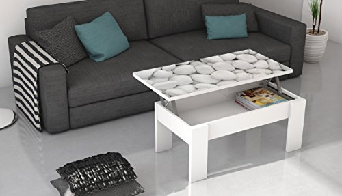 Mesa de centro elevable con tablero de cristal serigrafiado