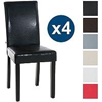 CLP 4X Sillas de Comedor INA, Estructura Madera Color Negro, tapizado en Piel sintética, Altura Asiento 47 cm Negro