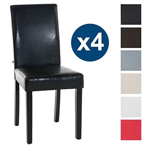 CLP Set 4 chaises INA revêtement en similicuir avec piétement en bois pour une hauteur d´assise de 47 cm avec dossier rembourré pour plus de confort, design classique pour la cuisine ou salle à manger noir