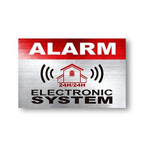 imaggge.com 12 x Sicherheits-Warnschilder Aufkleber - Alarm - Elektronisches System - für den Innen- und Außenbereich - Schutz für Zuhause, Auto. - wetterfest - Größe: 9,4 x 5,1 cm (Security System, Alarm Für Auto)