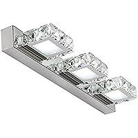 Asvert Lámparas para Espejo de Baño 3pcs LEDs Cristal Lujoso 9w Iluminación Bañera Luces, Blanco Frío