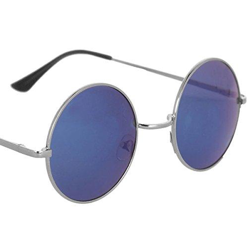 Occhiali da sole in stile John Lennon in differenti colori (Nero - Blu)