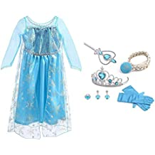 URAQT Vestido de Princesa Elsa, Reina Frozen Disfraz Elsa Vestido Infantil Niñas Costume Azul Cosplay