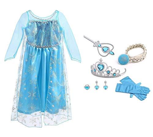 (URAQT Mädchen Prinzessin ELSA Kleid Kostüm Eisprinzessin Set aus Diadem, Handschuhe, Zauberstab)