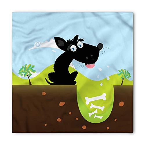 Dog Bone Bandana, Black Dog Digging a Hole, Unisex Head and Neck Tie,Unisex Bandana Head and Neck Tie Neckerchief Headdress Silk-Like 100% Polyester -S Soft Cowl Neck