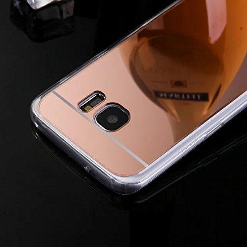 Cover Samsung Galaxy S6 Edge,Custodia Samsung Galaxy S6 Edge,KunyFond Crystal Clear Protettiva Case Custodia 360 Gradi di Protezione Completa Morbida Gel Custodia Silicone Tpu Copertura Trasparente Ma rose oro Placcatura