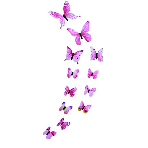 erthome 12pcs Luminous Butterfly Design Decal Art Wall Stickers Room Magnetic Home Decor