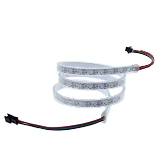 ALITOVE 3.2ft WS2812B 5050 RGB LED Strip 60 SMD Individual Addressable Full Color Flexible Pixel Rope Light Waterproof 5V White PCB …