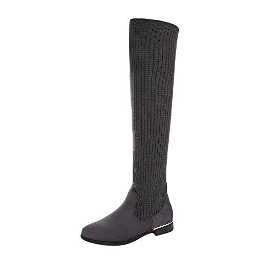 Ital-Design Overknees Damen-Schuhe Klassischer Stiefel Blockabsatz Blockabsatz Stiefel Grau, Gr 41, 0-166-