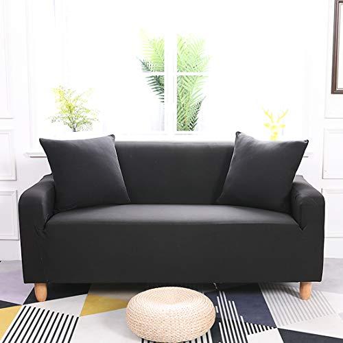 ENZER Housse de canapé en Tissu élastique Extensible Couleur Pure Housse de Protection pour Chien, Noir, 2 Places
