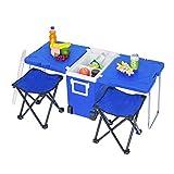VINGLI Mehrfunktions-isolierter Getränkekühler, Picknick, Camping Outdoor mit Tisch und 2 tragbaren, faltbaren Campingstuhl-Hocker mit Tragetasche