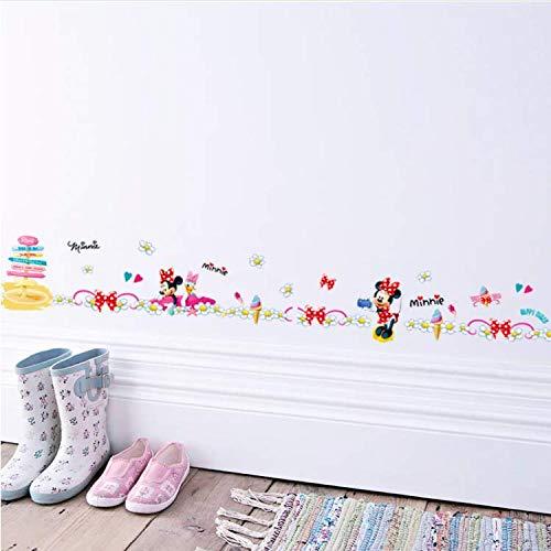 WUDHF Karton Mickey Mouse Minnie Daisy Ente Taille Linie Farbe Wandaufkleber Wohnkultur Sockelleiste Tür Hintergrund Treppe Kinderzimmer (Speicher Minnie)
