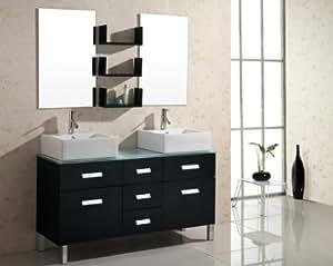 Ensemble Meuble Salle de Bain Design Double vasque Noir - FARO BLACK
