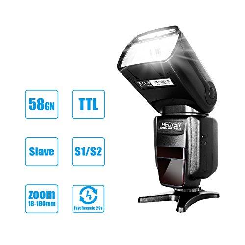 Kamerablitz, Heoysn Speedlite Blitzgerät, 1 / 8000s HSS Professional Blitz E-TTL I-TTL Blitzlicht für Alle Canon & Nikon DSLR Karame