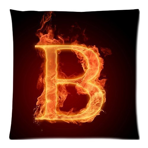 Letter B on Burning fire Zippered Pillow Cases Cover Cushion Case 18x18 Inch ()