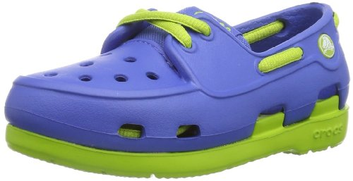 crocs Beach Line Boat Children, Unisex - Kinder Segelschuh, Blau (Sea Blue/Volt Green), 22/23 EU (Volt-line)