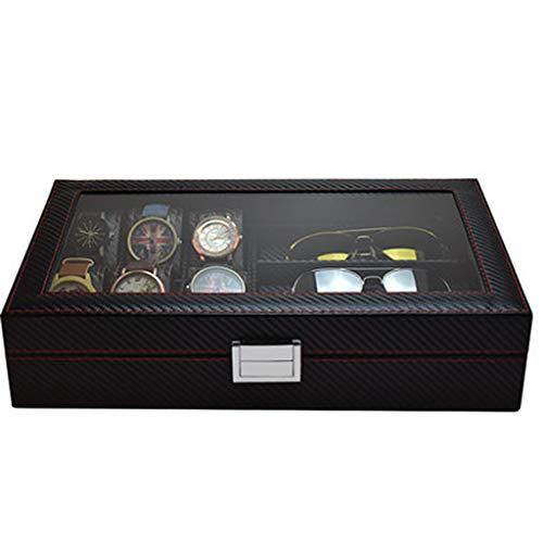 Kohlefaser Schmuck Uhr Aufbewahrungsbox, Schmuck Display Box Mit Schloss Glas Top Organizer Langlebig Männer Und Frauen,Black