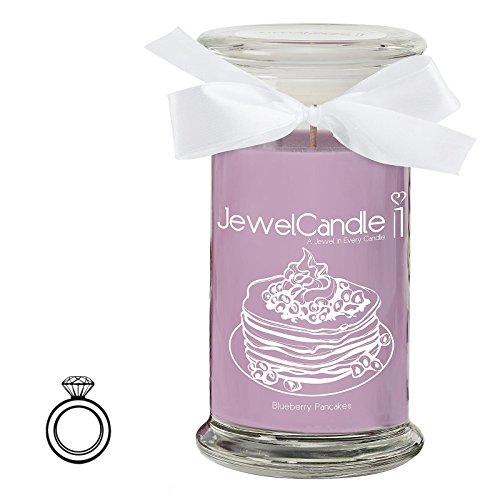 Jewelcandle blueberry pancake - candela in vetro con un gioiello - candela profumata viola con una sorpresa in regalo per te (anello in argento sterling 925, tempo di combustione: 90-125 ore)(s)