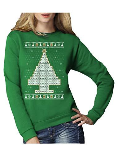 Green Turtle T-Shirts Periodensystem Weihnachtsbaum Ugly Christmas Pullover Frauen Sweatshirt Small Grün