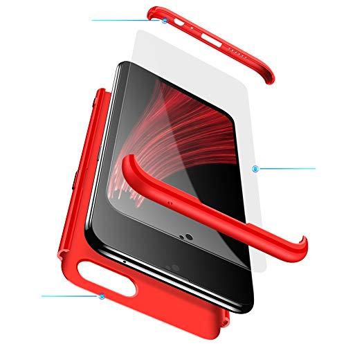 MEVIS Oppo F7 Hülle,360 Grad hülle Fullbody case+(1*Hartglas Glasfilm Schutzfolie) 3 in 1 Ultra dünner pc Hardcase Scratch und Shockproof-Rot
