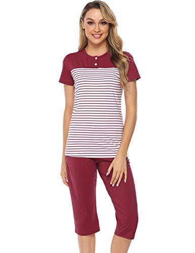 Hawiton Damen Schlafanzug Kurz Sommer Pyjama Gestreift Nachtwäsche mit Capri Hose und Kurzarm Oberteil Weinrot L