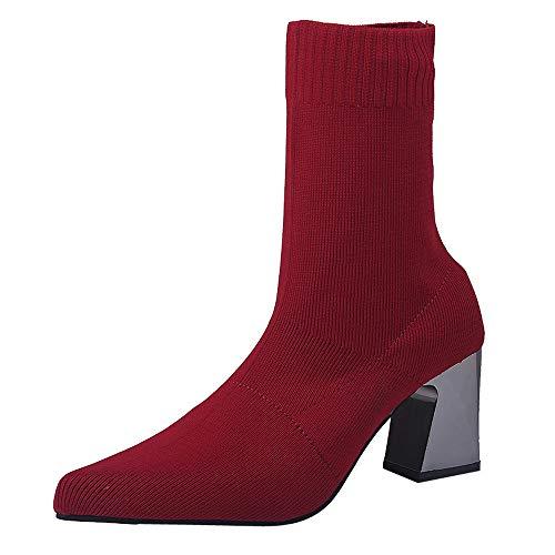 Fuibo Damen Stiefel, Frauen Spitz High Heel Schuhe Mittelrohr Stretch Stoff Stiefel Slip-On Boot | Stiefeletten Ankle Boots Schlupfstiefel Chelsea Boots (40.5 EU, Rot) -