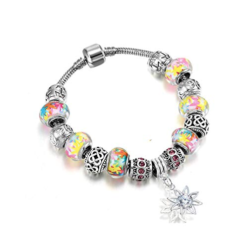Awertaweyt Edelstein Perlen Armband Gift Sun Flower Pendant Colorful Murano Glass Beads Bracelet Bangles Fit Original Women Girl Snake Chain DIY Jewelry Style 5