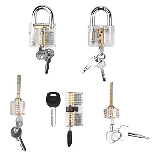 27b8e945c3a3 5 Pack Padlock Practice Set, Transparent Visible Cutaway Practice Kit  Training Tools for Beginner and Locksmiths, Including Clear Lock, Blade  Lock and ...