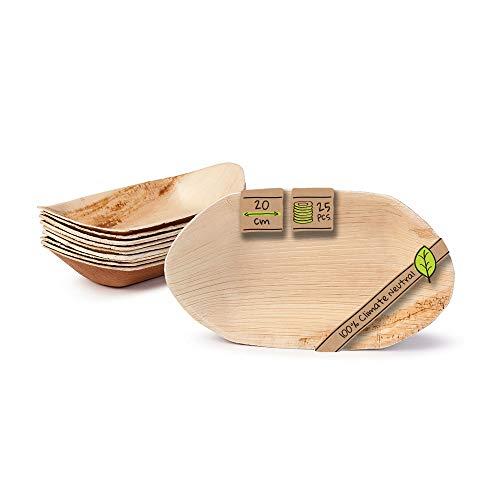 BIOZOYG Palmblatt Schale für Fingerfood I Einweggeschirr biologisch abbaubar, kompostierbar I Einweg Schälchen Servierteller Dipschale Snackschale I 25 Stück Party Schiffchen 20 cm