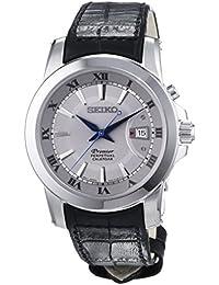 Seiko Premier Perpetual Calendar - Reloj de cuarzo para hombre, correa de cuero color negro