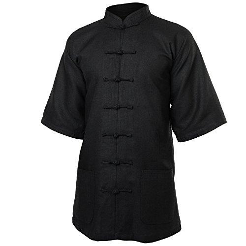wu designs Leinen (Schwer) Kung Fu & Tai Chi Shirt Stehkragen Kurzarm - Taiji Anzug Schwarz 185