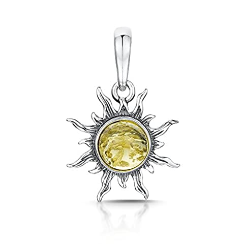 Amberta 925 Sterling Silver with Baltic Amber – Sun Pendant - Yellow Colour