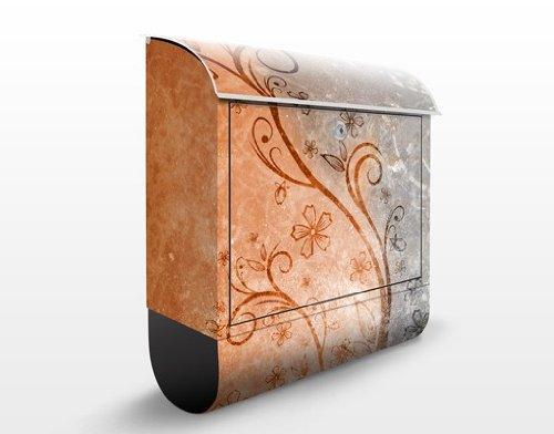 Design Briefkasten Dignity | Ranken Schnörkel Blüten Blumen Bunt, Postkasten mit Zeitungsrolle, Wandbriefkasten, Mailbox, Letterbox, Briefkastenanlage, Dekorfolie