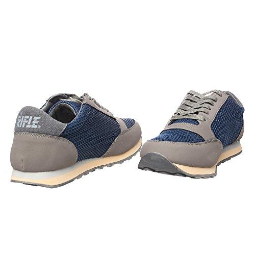 RIFLE Sneakers da uomo, scarpa bassa stringata - Mod. 162-M-318-866 Grigio - Blu