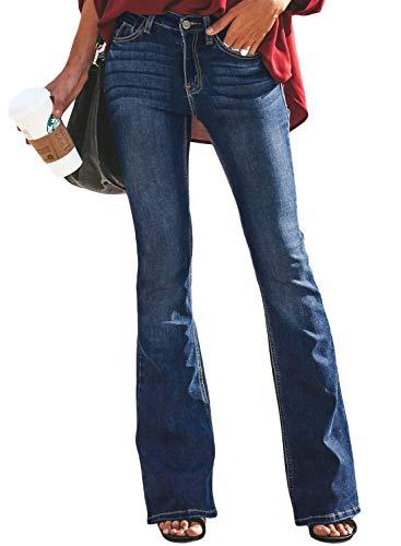 Aleumdr Mujer Vaqueros Cintura Alta Vaqueros Largos de Liso Pantalones Acampanados Jeans Casuales de Mujer Azul Size M