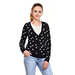 MansiCollections Black Grey Polka dot Cardigan for Women